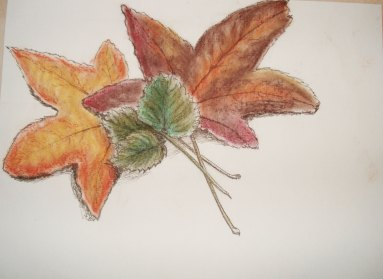 Autumn leaves. Ink and pastel. © CC